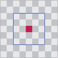 Дошка 9х9 клетак у Беларускіх шахматах, замест дошкі 8х8 у класічных. Сінім колерам пазначаны палац, чырвоным - трон.