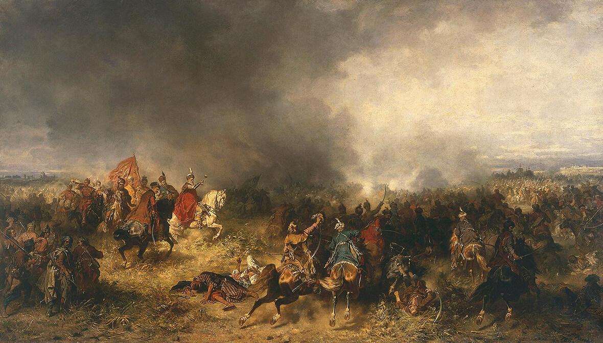 Ян Караль Хадкевіч (у чырвоным) вядзе войска ў бітве пры Хоціне. Карціна Юзэфа Бранда, 1867 год.
