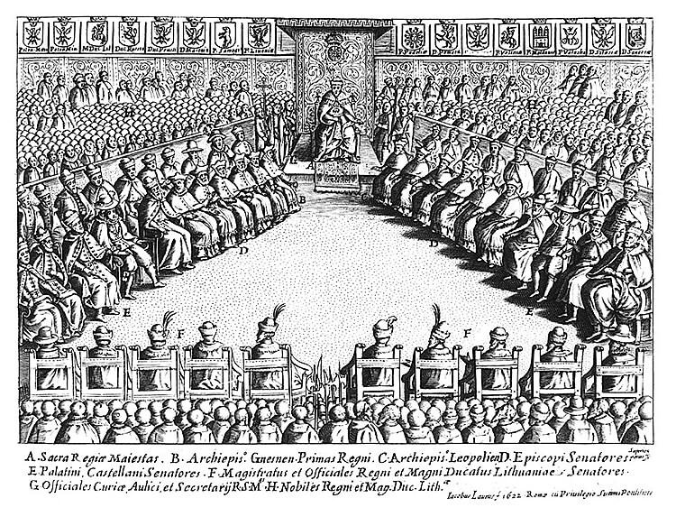 Сойм 1622 часоў Жыгімонта III Вазы. Гравюра Джыякама Лаўра.